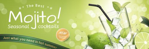 Seasonal cocktails poster design vector 02