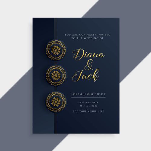 set of wedding invitation card vectors 01 free download