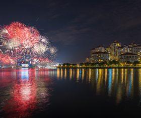 Singapore fireworks Stock Photo