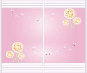 Sliding door pattern decoration material vector 01