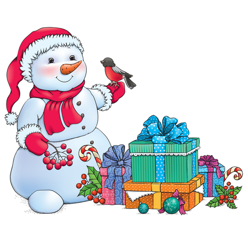 Snowman and christmas gifts illustration vectors 01