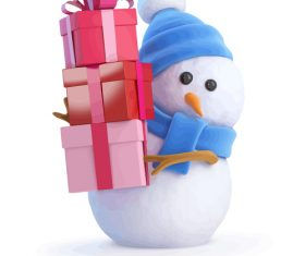 Snowman with presents design vector