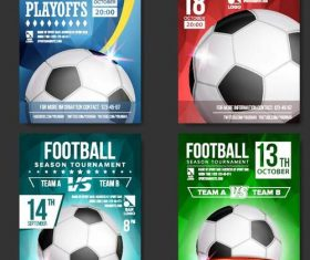 Soccer brochure with poster cover template vector 01