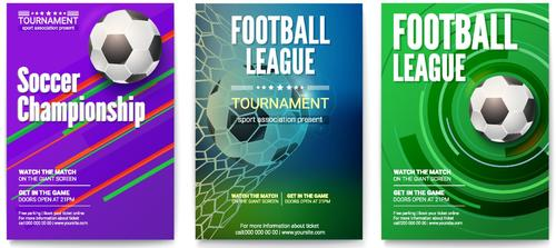 Soccer brochure with poster cover template vector 03