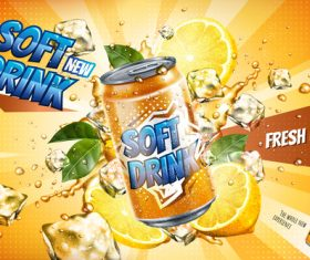 Soft drink lemon poster vector 01