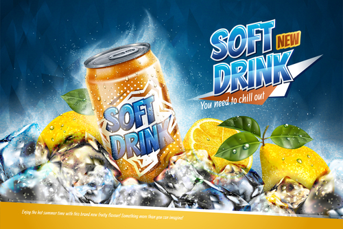Soft drink lemon poster vector 02