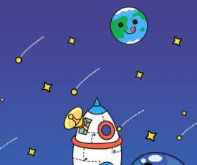 Space cartoon panda moon walk vector