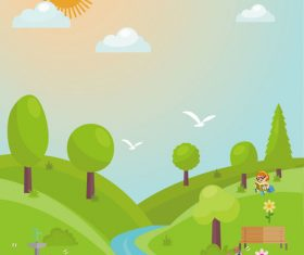 Spring hand drawn cartoon landscape illustration vector