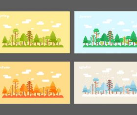 Spring summer autumn and winter seasons illustration vector