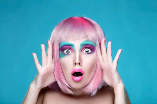 Stock Photo Avant garde fashion girl surprised expression 01