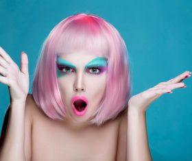 Stock Photo Avant-garde fashion girl surprised expression 02