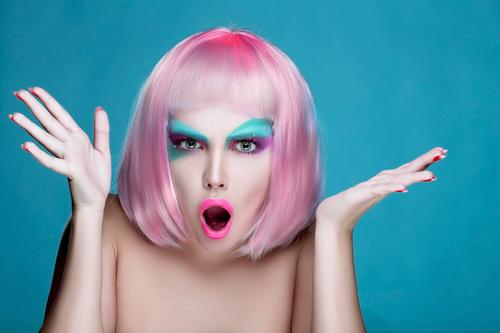 Stock Photo Avant garde fashion girl surprised expression 02