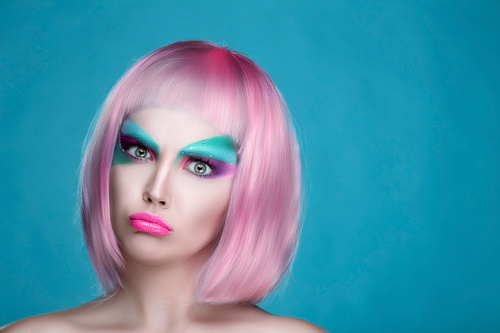 Stock Photo Avant garde fashion girl with angry expression