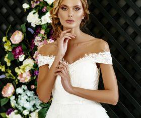 Stock Photo Blonde pretty woman wearing white long dress 01