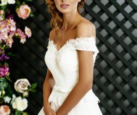 Stock Photo Blonde pretty woman wearing white long dress 02