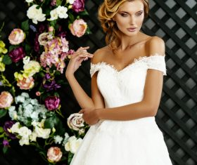 Stock Photo Blonde pretty woman wearing white long dress 03