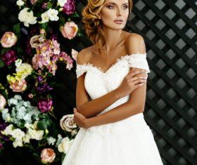 Stock Photo Blonde pretty woman wearing white long dress 04