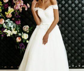 Stock Photo Blonde pretty woman wearing white long dress 05