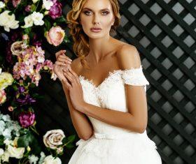 Stock Photo Blonde pretty woman wearing white long dress 06