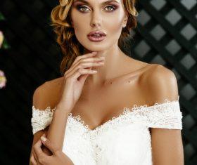 Stock Photo Blonde pretty woman wearing white long dress 07