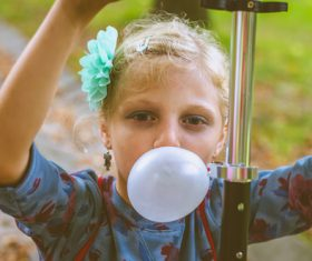 Stock Photo Bubble Gum Blowing little girl 02