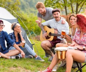 Stock Photo Friends partying man playing guitar 02