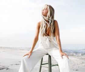 Stock Photo Girl posing on the beach