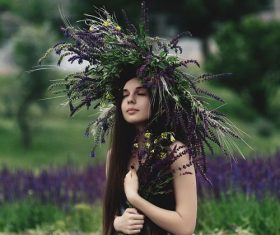 Stock Photo Girl wearing lavender wreath