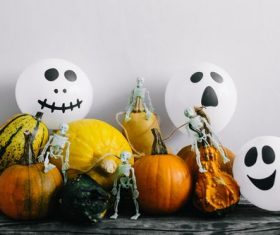 Stock Photo Halloween balloons and pumpkins