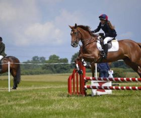 Stock Photo Horse racing across obstacles 03