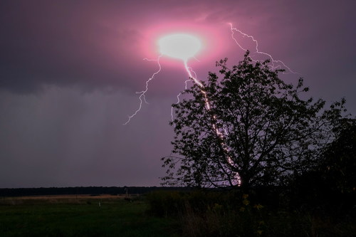 Stock Photo Night ball lightning