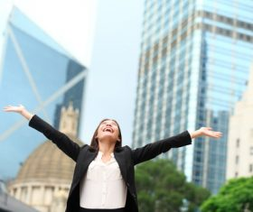 Stock Photo Woman cheering with open arms 01
