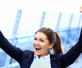 Stock Photo Woman cheering with open arms 02