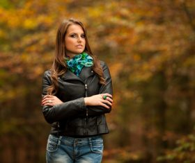 Stock Photo Woman in black jacket