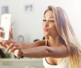 Stock Photo Woman who likes to take selfie 01