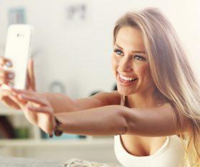Stock Photo Woman who likes to take selfie 02