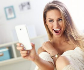 Stock Photo Woman who likes to take selfie 05