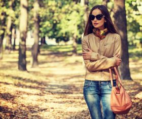 Stock Photo charming woman outdoors in sunny autumn day 01