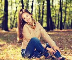 Stock Photo charming woman outdoors in sunny autumn day 02