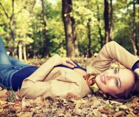 Stock Photo charming woman outdoors in sunny autumn day 03