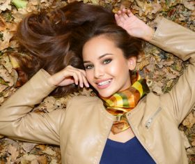 Stock Photo charming woman outdoors in sunny autumn day 04