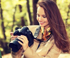 Stock Photo charming woman outdoors in sunny autumn day 05