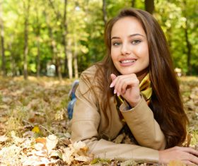Stock Photo charming woman outdoors in sunny autumn day 06