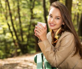 Stock Photo charming woman outdoors in sunny autumn day 07