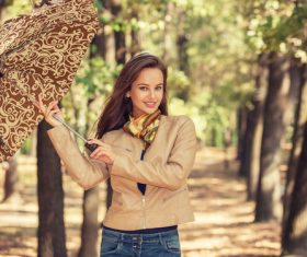 Stock Photo charming woman outdoors in sunny autumn day 08