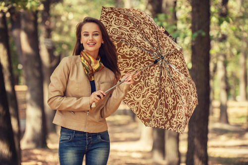 Stock Photo charming woman outdoors in sunny autumn day 09