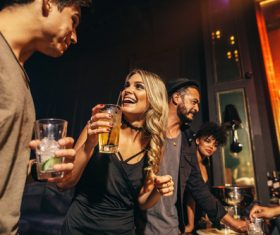 Stylish girls enjoying party at nightclub Stock Photo 01