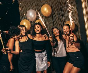 Stylish girls enjoying party at nightclub Stock Photo 02