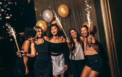 Stylish girls enjoying party at nightclub Stock Photo 02