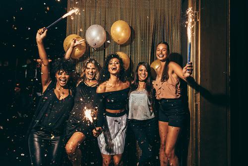 Stylish girls enjoying party at nightclub Stock Photo 03